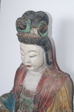 CHINESE-ART GUANYING MING dynasty wood 81cm. foto 6