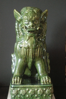 CHINESE FOO DOG ceramic green-glazed 20th 58 cm.  € 960