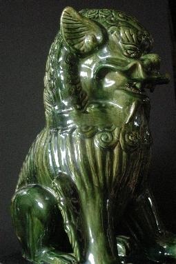 CHINESE FOO DOG ceramic green-glazed 20th 58 cm. foto 3