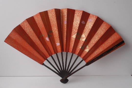 JAPANESE FAN red gold 28.7 cm. foto 2