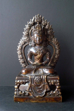 TIBETAN BUDDHA AMITAYUS GILT-BRONZE 18th Century 21.5 cm. SOLD!
