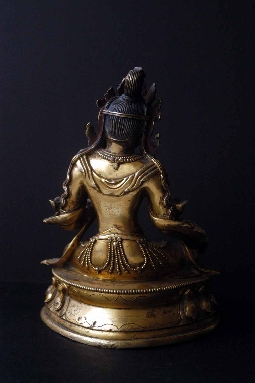 TIBETAN GREEN TARA GILT-BRONZE 17th 16 cm. FOTO 4