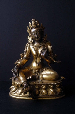TIBETAN GREEN TARA GILT-BRONZE 17th 16 cm. SOLD!